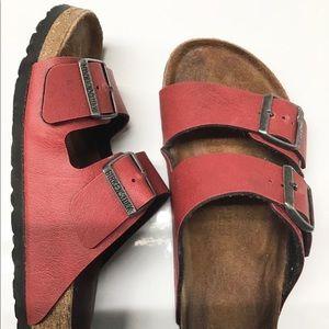 Red leather Birkenstock slip ons size 37